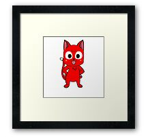 Anime cat pose - red Framed Print