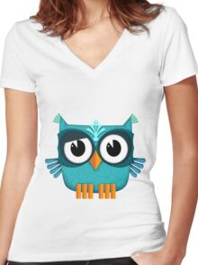 Cute Owl emerald Women's Fitted V-Neck T-Shirt