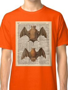 Bat Anatomy Illustration Over Vintage Encyclopedia Page Classic T-Shirt