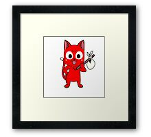 Anime cat and pack - red Framed Print
