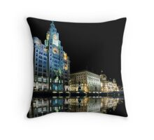 Liver Buildings, Liverpool Throw Pillow