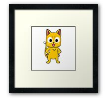 Anime cat pose - yellow Framed Print