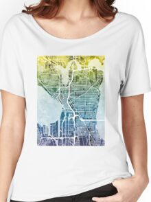 Seattle Washington Street Map Women's Relaxed Fit T-Shirt