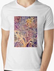 Washington DC Street Map Mens V-Neck T-Shirt