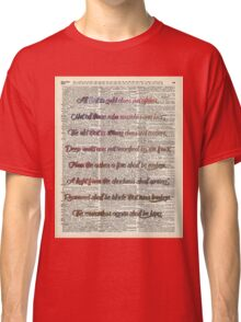 """All that is gold.."" Bilbo Baggins Quote Vintage Dictionary Book Page Art Classic T-Shirt"