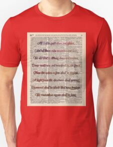 Bilbo Baggins Quote Over Old Book Page T-Shirt