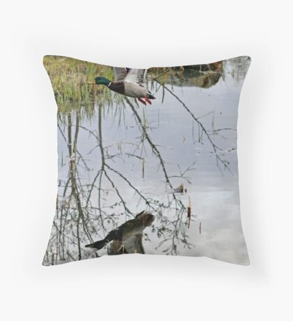 Duck over the pond Throw Pillow