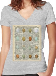 Colourful Eggs Vintage Collage Easter Gift Women's Fitted V-Neck T-Shirt