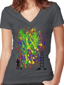 Night Artist Women's Fitted V-Neck T-Shirt