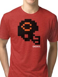 Tecmo Bowl - Chicago - 8-bit - Mini Helmet shirt Tri-blend T-Shirt