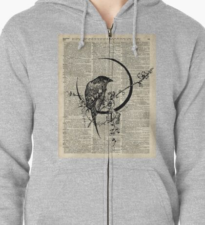 Goth Raven Pen&Ink Illustration,Vintage Dictionary Art Zipped Hoodie