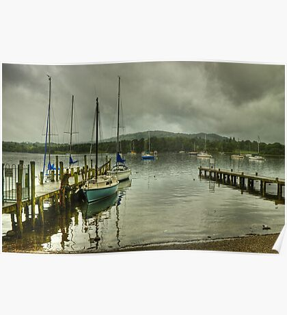 Windermere..Jetties and Yachts Poster