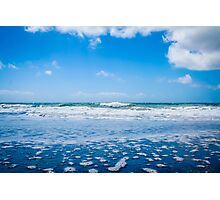 Ocean waves and blue sky with clouds Photographic Print