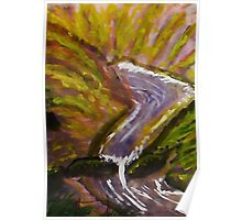 Flash flood in canyon, watercolor Poster