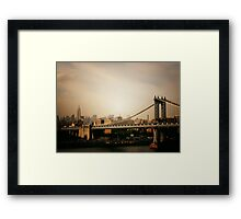 The Manhattan Bridge and the New York City Skyline at Sunset Framed Print