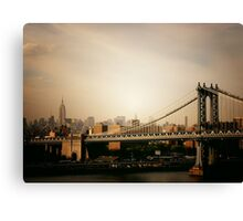 The Manhattan Bridge and the New York City Skyline at Sunset Canvas Print