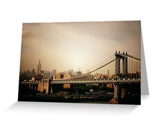 The Manhattan Bridge and the New York City Skyline at Sunset Greeting Card