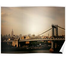 The Manhattan Bridge and the New York City Skyline at Sunset Poster