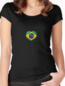 Brazilian Flag in 3D Heart Women's Fitted Scoop T-Shirt