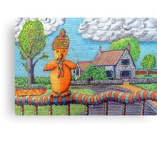 340 - SITTING ON THE FENCE - DAVE EDWARDS - COLOURED PENCILS - 2011 Canvas Print