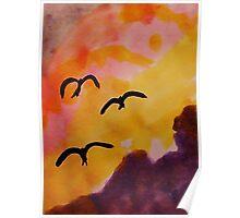 Birds coming in for a landing at sunset, watercolor Poster