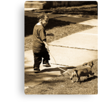 A boy and his dog Canvas Print