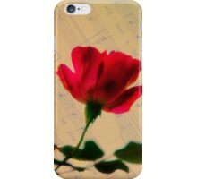 Red Rose with Sheet Music Texture iPhone Case/Skin