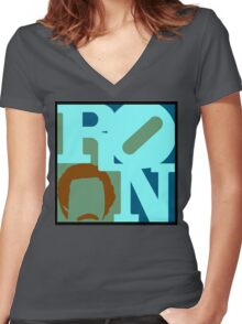 Ron Love (c) Women's Fitted V-Neck T-Shirt
