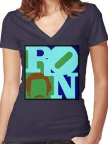 Ron Love (b) (Anchorman) Women's Fitted V-Neck T-Shirt