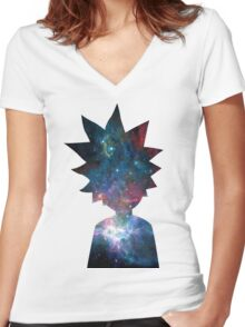 Rick and Morty Galaxy Design Women's Fitted V-Neck T-Shirt