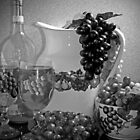 Pottery, Grapes and Wine (Black and White) by Sherry Hallemeier