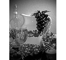 Pottery, Grapes and Wine (Black and White) Photographic Print
