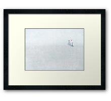 The boy, the bear and the balloon Framed Print