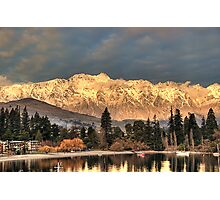 Remarkable Gold - The Remarkables near Sunset Photographic Print