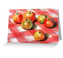 Apples on a check cloth Greeting Card