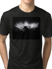B&W photo, Insect on a white flower.Silent Tri-blend T-Shirt