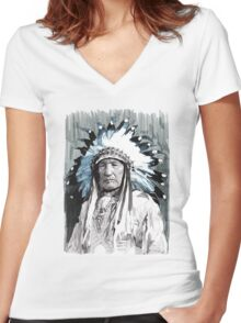 Native American Chief Women's Fitted V-Neck T-Shirt