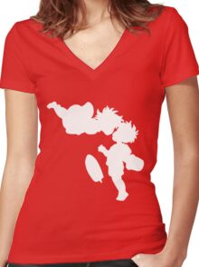 Ponyo Women's Fitted V-Neck T-Shirt