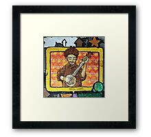 Graffiti art, Glasgow; man strumming mandolin Framed Print