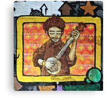 Graffiti art, Glasgow; man strumming mandolin Canvas Print