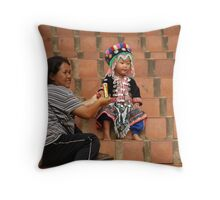 Hills tribe mother and child, Chiang Mai, Thailand Throw Pillow