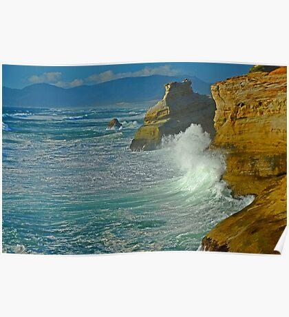 Wave Action At Cape Kiwanda Poster