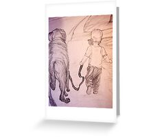 Walking the dog Greeting Card