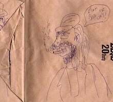 Drawings on Cardboard and Brown Paper Bag by Stacey Lazarus