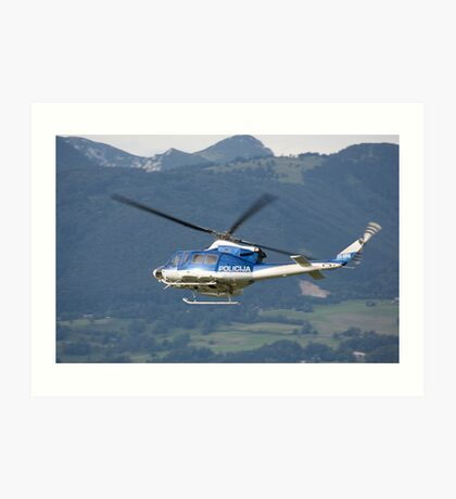 Police helicopter patrolling Art Print