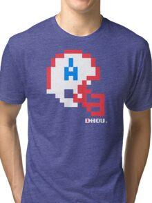 Tecmo Bowl - Houston - 8-bit - Mini Helmet shirt Tri-blend T-Shirt