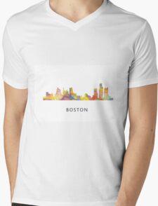 Boston, Massachusetts Skyline WB1 Mens V-Neck T-Shirt