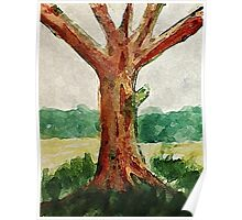 The Tree, with all its age showing, watercolor Poster