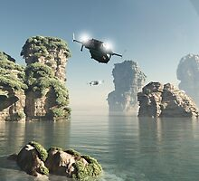 Flying Through The Sea Stacks by algoldesigns