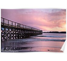 Fort Foster Pier at Sunset Poster